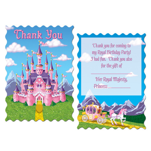 """Club Pack of 96 Pink and Purple Princess Castle Party """"Thank You"""" Notes 5.5"""" - IMAGE 1"""