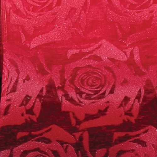 """Sheer Red Roses Wired Craft Ribbon 3"""" x 20 Yards - IMAGE 1"""