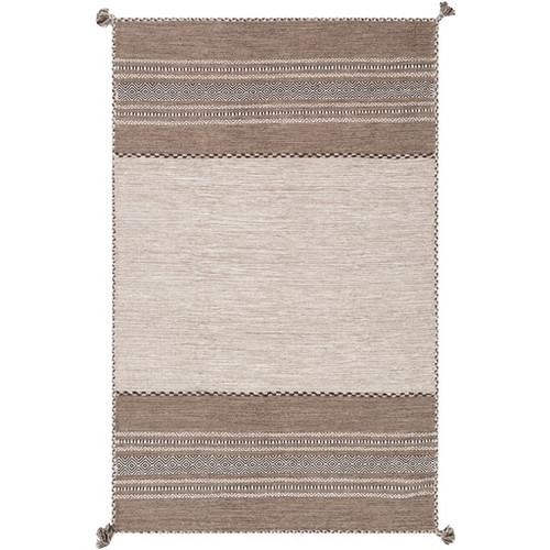 8' x 10' Striped Camel Brown and Ivory Hand Woven Rectangular Area Throw Rug - IMAGE 1