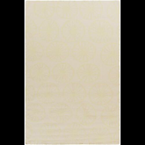 5' x 8' Beige and Pale Yellow Hand Woven Rectangular Wool Area Throw Rug - IMAGE 1
