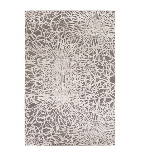 4' x 6' Modern Exuberance Black and Ivory Hand Knotted Floral Rectangular Wool Area Throw Rug - IMAGE 1