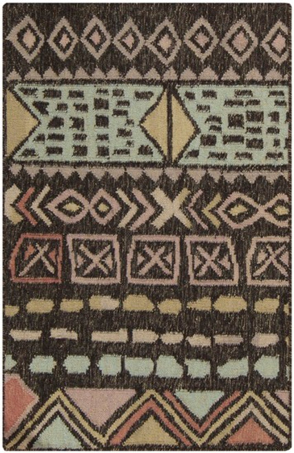 3.25' x 5.25' Ancestral Origins Brown and Beige Hand Woven Rectangular Wool Area Throw Rug - IMAGE 1