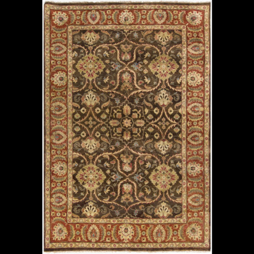 5.5' x 8.5' Floral Brown and Red Hand Knotted Rectangular Wool Area Throw Rug - IMAGE 1