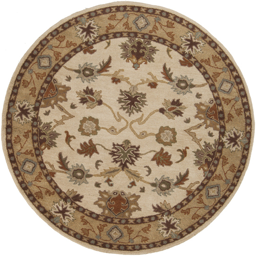 4' Beige and Sage Green Floral Hand Tufted Round Area Throw Rug - IMAGE 1