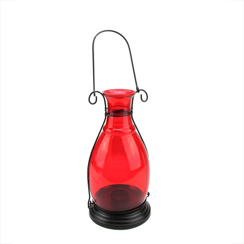 "10.5"" Transparent Red Decorative Glass Bottle Vase Tea Light Candle Lantern - IMAGE 1"