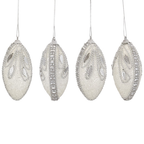 """4ct White and Silver Beaded Swirl Shatterproof Christmas Finial Ornaments 4.5"""" - IMAGE 1"""