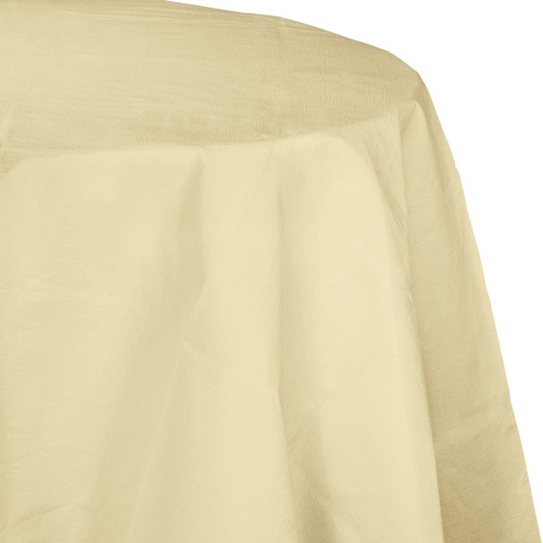 """Club Pack of 12 Ivory Disposable Round Picnic Party Table Covers 82"""" - IMAGE 1"""
