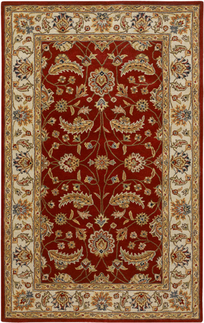 6' x 9' Maroon and Brown Contemporary Hand Tufted Floral Rectangular Wool Area Throw Rug - IMAGE 1