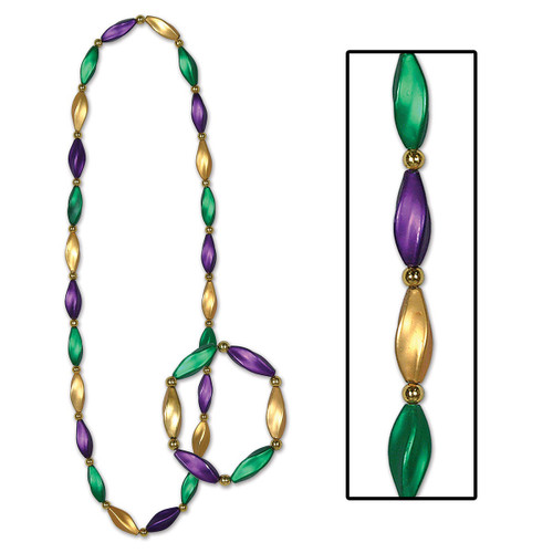 Club Pack of 12 Vibrantly Colored Mardi Gras Swirl Beaded Necklace and Bracelet Sets 38'' - IMAGE 1