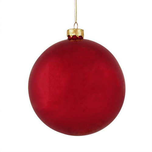 "6ct Pearl Red Xmas Glass Ball Christmas Ornaments 4"" (100mm) - IMAGE 1"
