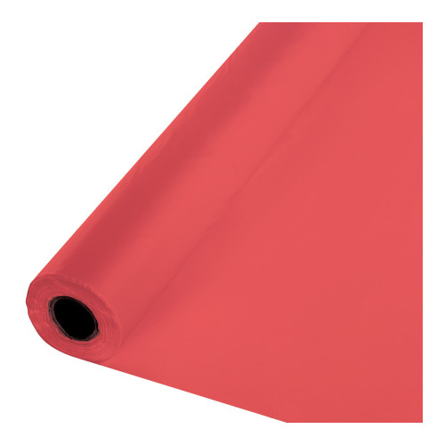 100' Coral Pink Disposable Banquet Party Table Cover Roll - IMAGE 1