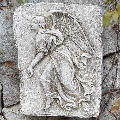 """15"""" Gray and Brown Leftward Facing Angel Weathered Religious Garden Wall Plaque - IMAGE 1"""