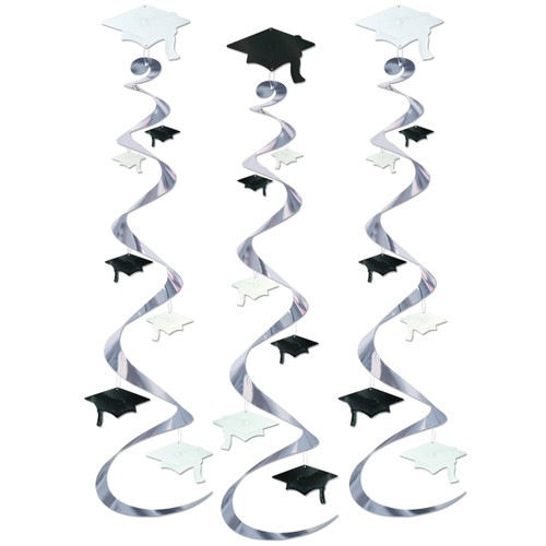 """Club Pack of 18 Silver and Black Graduation Cap Swirl Decorations 30"""" - IMAGE 1"""