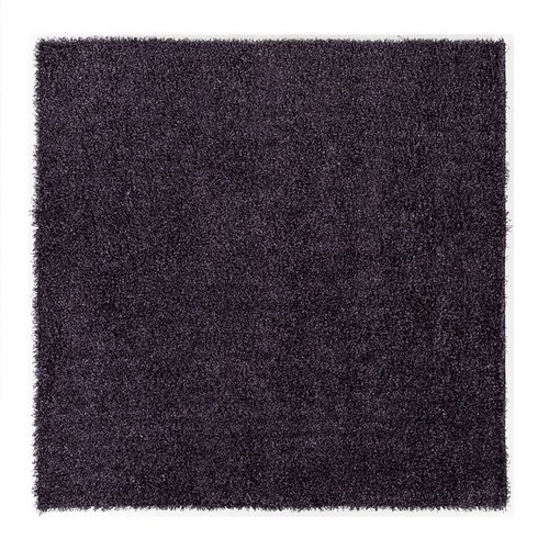 9' x 9' Plush of Furry Elegance Purple and Black Hand Tufted Square Area Throw Rug - IMAGE 1