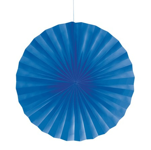 """Club Pack of 12 True Blue Hanging Tissue Paper Fan Party Decorations 16"""" - IMAGE 1"""