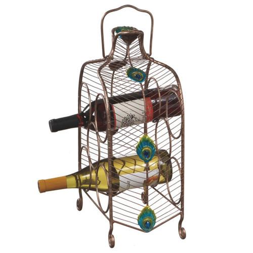 "16"" Contemporary Peacock Eye Inspired Wine Rack - 5 Bottle Storage - IMAGE 1"