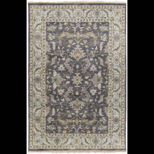 5.5' x 8.5' Gray and Green Rectangular Hand Knotted Wool Area Throw Rug - IMAGE 1