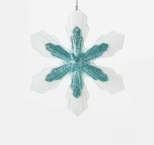 """5.25"""" Snowy Winter Glittered White and Minty Blue Snowflake Christmas Ornament - IMAGE 1"""