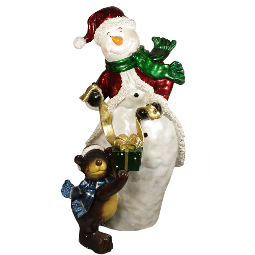 """48"""" White and Brown Snowman with Bear Christmas Display Outdoor Decoration - IMAGE 1"""