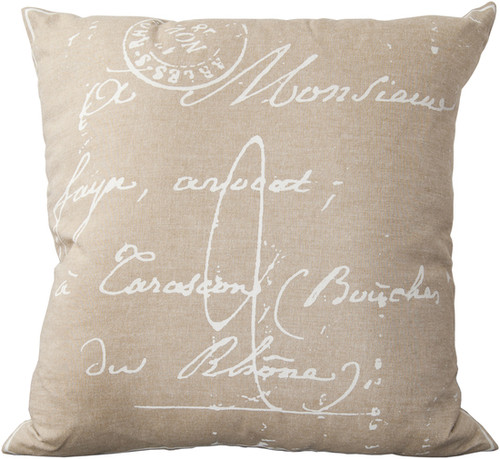 """22"""" Brown and  White Calligraphy Throw Pillow - Down Filler - IMAGE 1"""