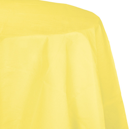 """Club Pack of 12 Yellow Disposable Round Party Table Covers 82"""" - IMAGE 1"""