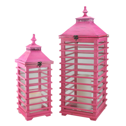 "Set of 2 L'Eau de Fleur Distressed Pink Fir Wood Pillar Candle Lanterns 28"" - IMAGE 1"