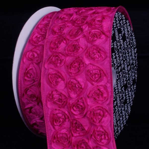 "Pink Contemporary Roses Wired Craft Ribbon 4"" x 10 Yards - IMAGE 1"