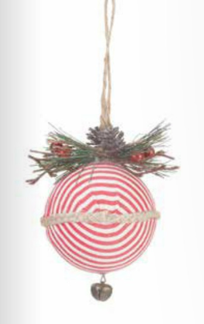 """4.75"""" Red and White Striped Christmas Ball Ornament - IMAGE 1"""