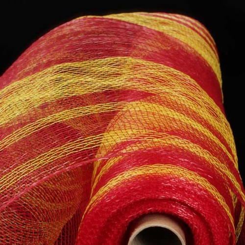 """Red and Yellow Striped Deco Mesh Craft Ribbon 21"""" x 40 Yards - IMAGE 1"""