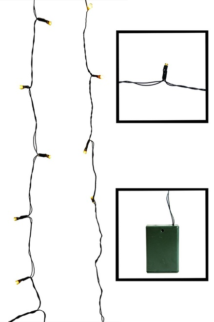 20 Battery Operated Gold LED Wide Angle Christmas Lights - 6.25 ft Green Wire - IMAGE 1