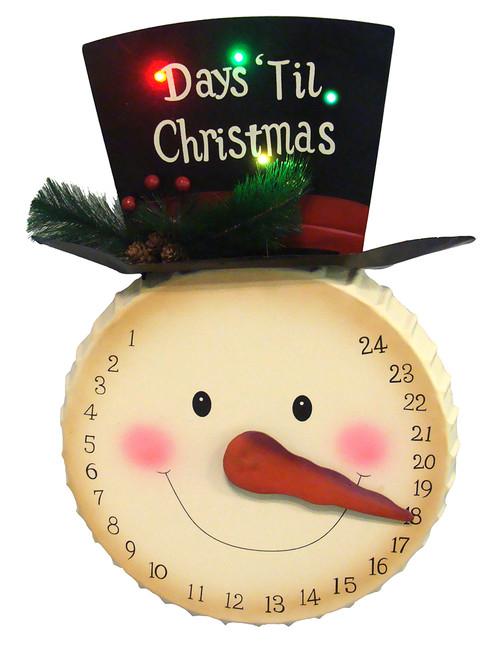"20"" Pre-Lit Beige and Black Artificial Christmas Snowman Advent Calendar - IMAGE 1"