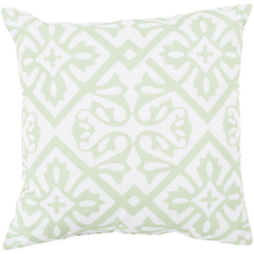 """18"""" Mint Green and Ivory Contemporary Square Outdoor Throw Pillow - IMAGE 1"""