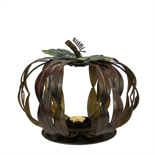 """10"""" Brown and Green Pumpkin Thanksgiving Votive Candle Holder - IMAGE 1"""