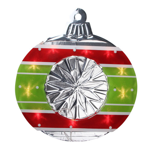 "15.5"" Lighted Red and Green Shimmering Ornament Christmas Window Silhouette Decoration - IMAGE 1"