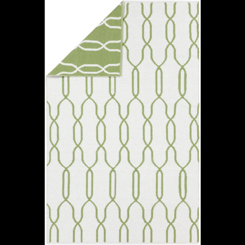 8' x 11' Green and White Reversible Area Throw Rug - IMAGE 1