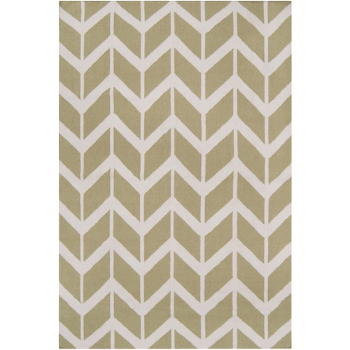 3.5' X 5.5' Winding Pathway Lime Green and White Hand Woven Rectangular Wool Area Throw Rug - IMAGE 1