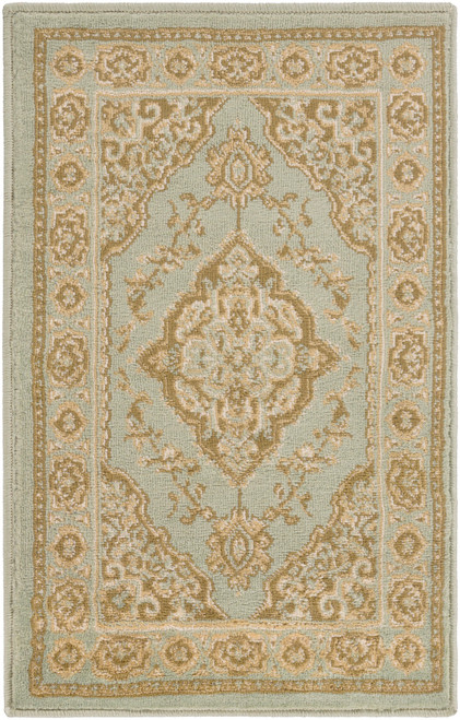 2' x 7.5' Floral Green and Gray Rectangular Area Throw Rug Runner - IMAGE 1