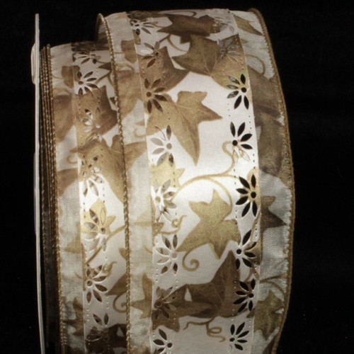 "Brown and White Marguerite Embossed Print Wired Craft Ribbon 2.5"" x 20 Yards - IMAGE 1"