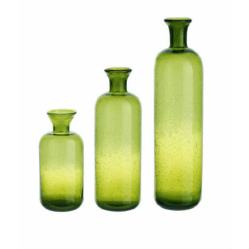 """Set of 3 Green Contemporary Glass Translucent Tabletop Bottles 16.5"""" - IMAGE 1"""