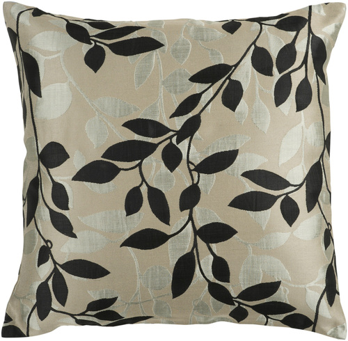"""22"""" Beige and Black Contemporary Leaf Square Throw Pillow - IMAGE 1"""