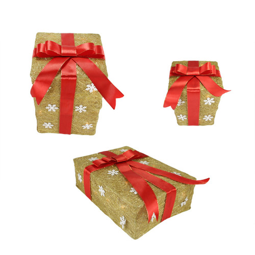 "Set of 3 Pre-Lit Gold and Red Snowflake Gift Box Outdoor Christmas Yard Art Decor 13"" - IMAGE 1"