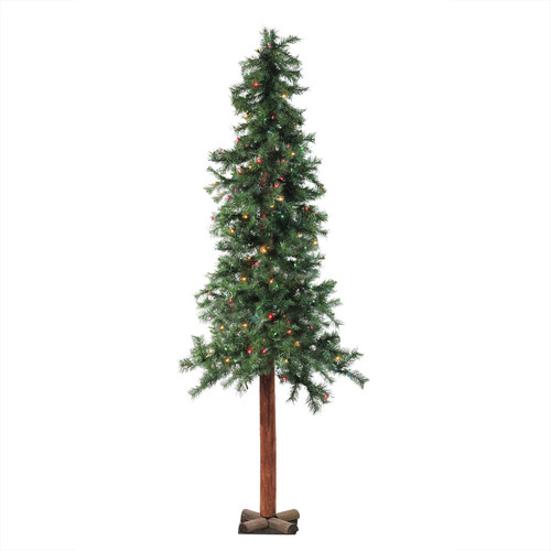 7' Pre-Lit Slim Traditional Woodland Alpine Artificial Christmas Tree - Multicolor Lights - IMAGE 1