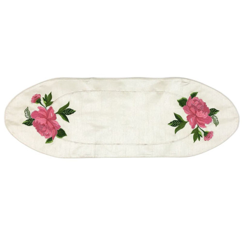 """12"""" x 36"""" White and Blue Peony Flower Contemporary Table Runner - IMAGE 1"""