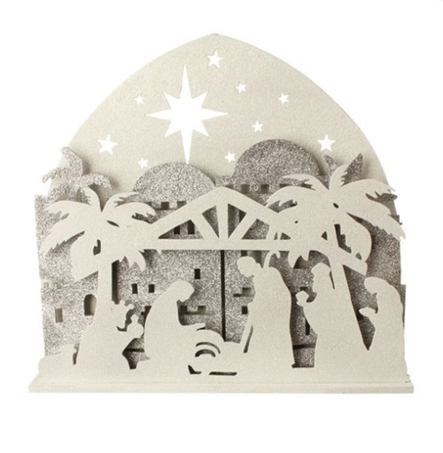 """19"""" Brown and White Battery Operated LED Nativity Christmas Decor - IMAGE 1"""