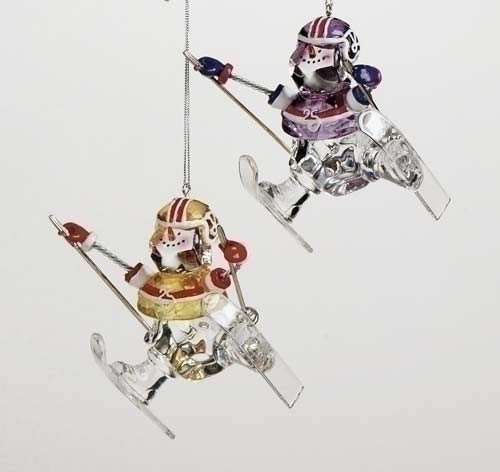 """Set of 4 Gold and Silver Football Player Snowmen Skiing Christmas Ornaments 4"""" - IMAGE 1"""