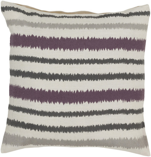 "18"" White and Gray Striped Square Contemporary Throw Pillow - Down Filler - IMAGE 1"