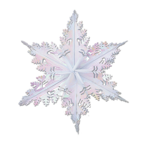 """Club Pack of 12 Metallic Opalescent Winter Snowflake Hanging Christmas Decorations 24"""" - IMAGE 1"""