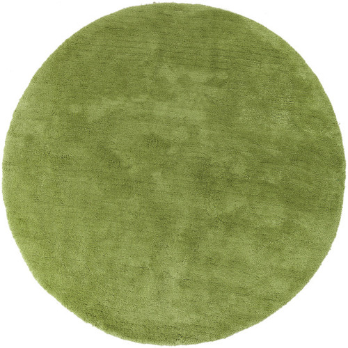 8' Lime Green Hand Tufted Plush Round Area Throw Rug - IMAGE 1