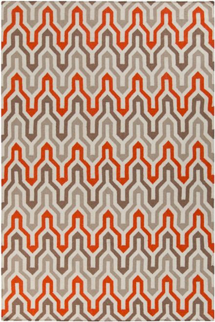 5' x 8' Krokev Orange and Gray Hand Woven Wool Area Throw Rug - IMAGE 1