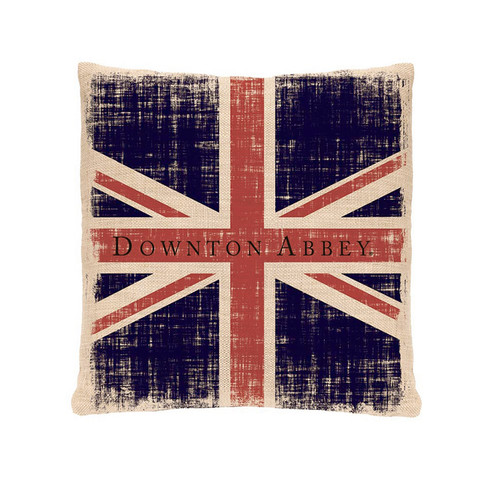 """18"""" Blue and Red """"Downtown Abbey"""" Union Jack Square Throw Pillow - IMAGE 1"""